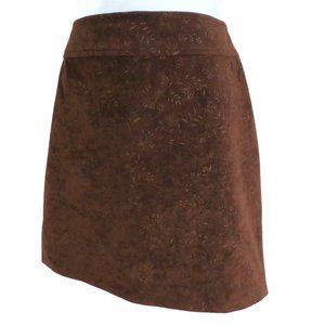 Vtg Esprit Skirt Faux Suede Mini Brown Floral NOS